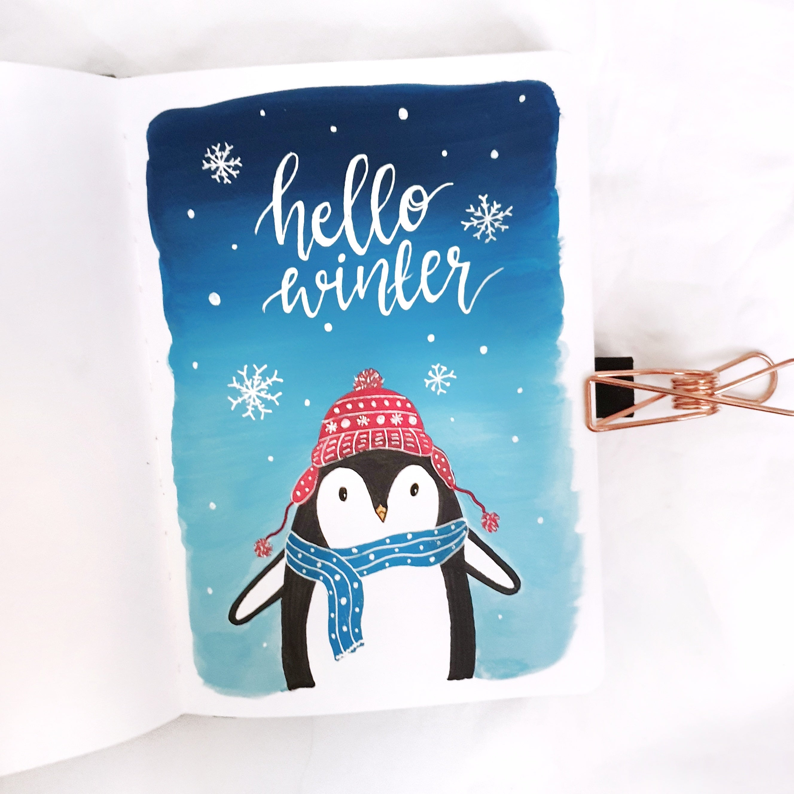 Winter Penguin Illustration