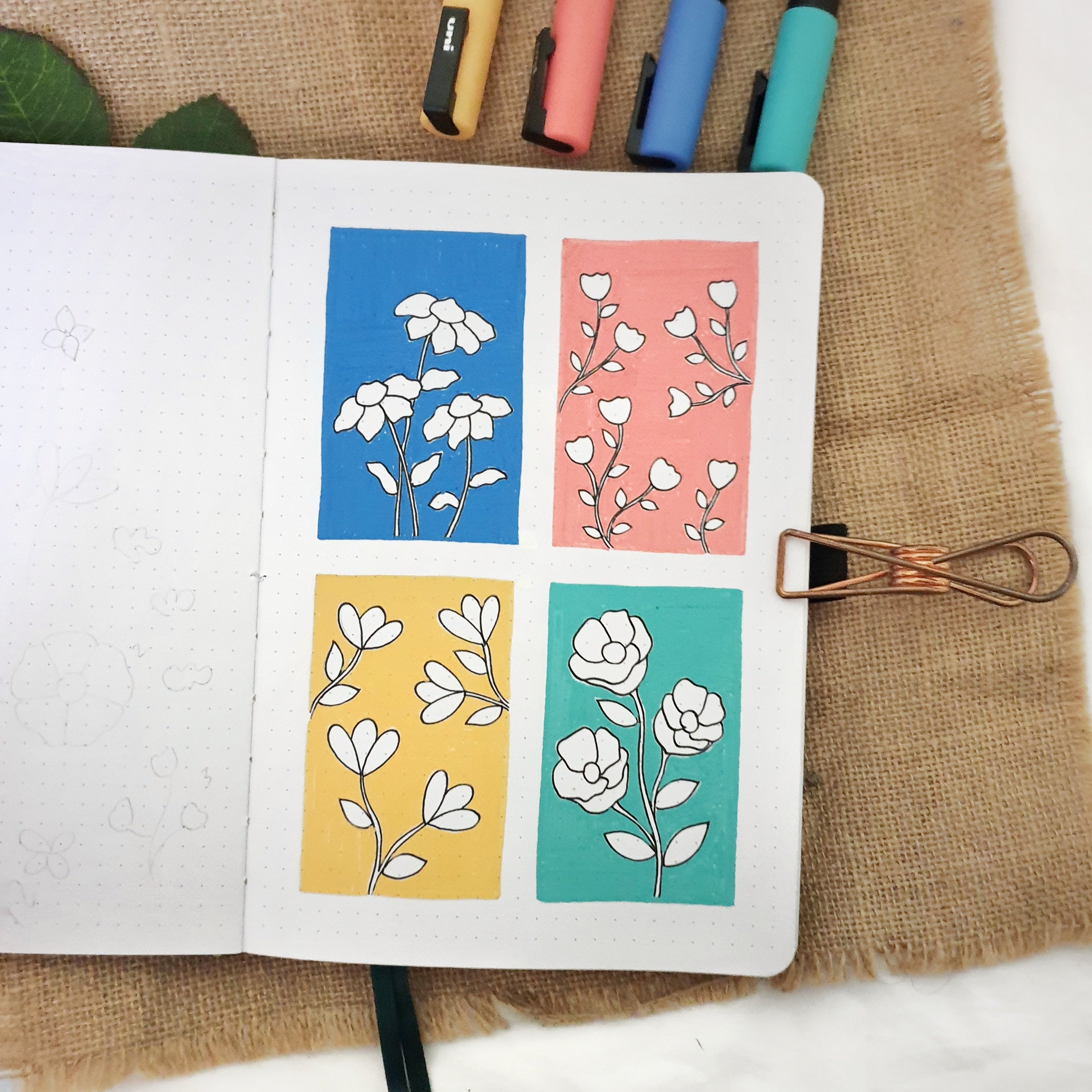 Color Block Floral Illustration