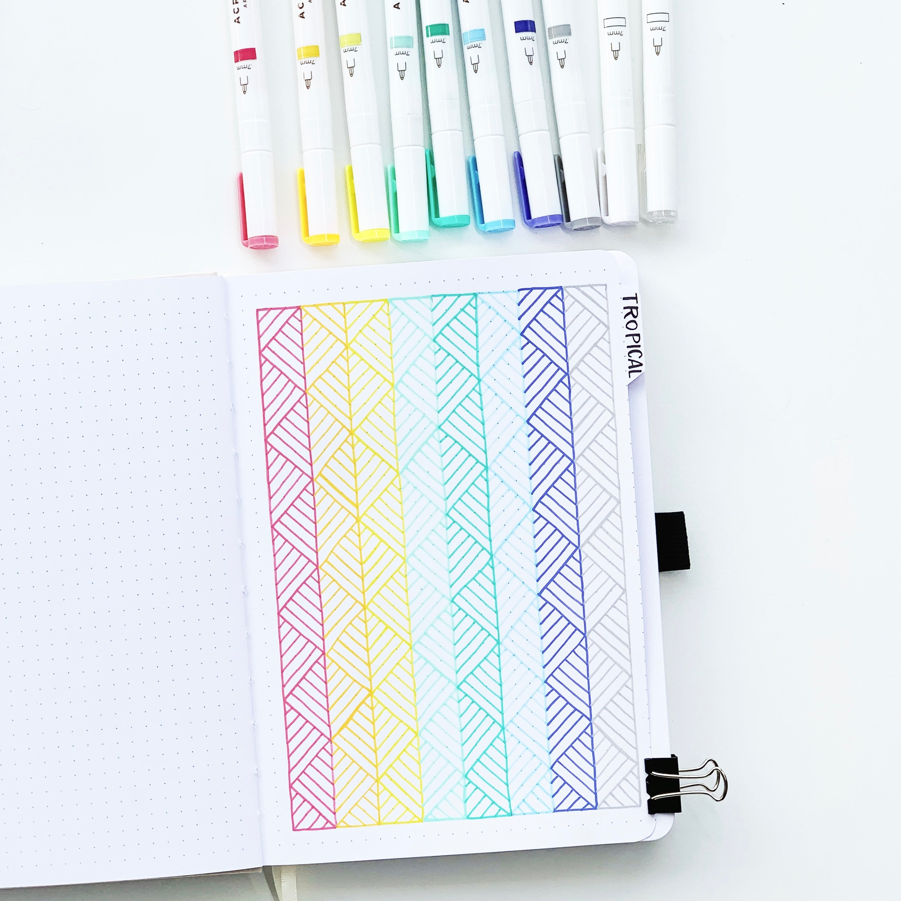 Learn how you can create a fun swatch page for your Acrylograph pens in your bullet journal with Adrienne from @studio80design!