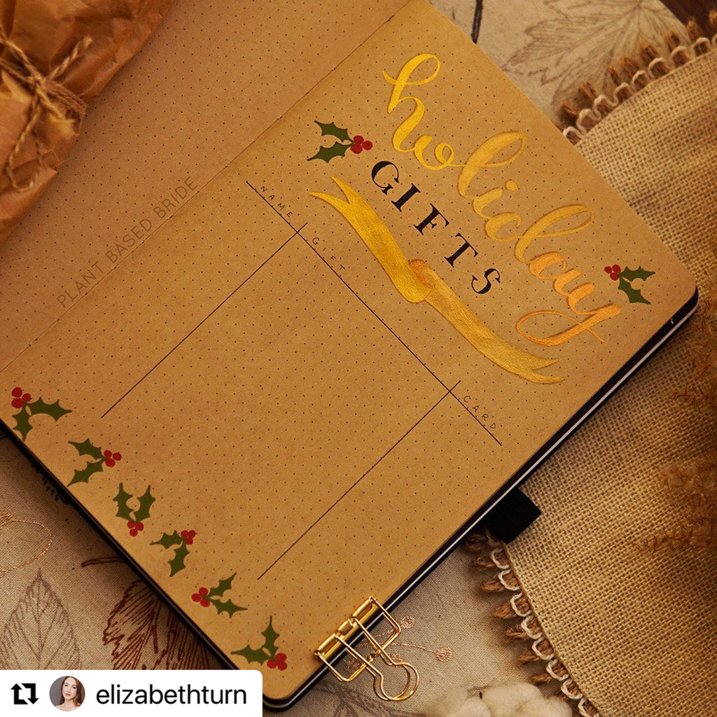 holiday gift guide on Kraft journal