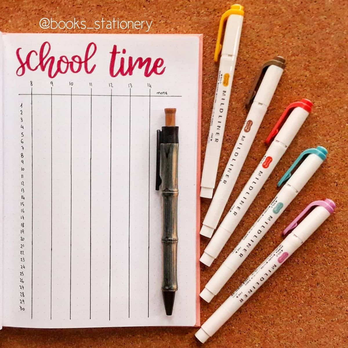 Bullet Journal School Time Tracker