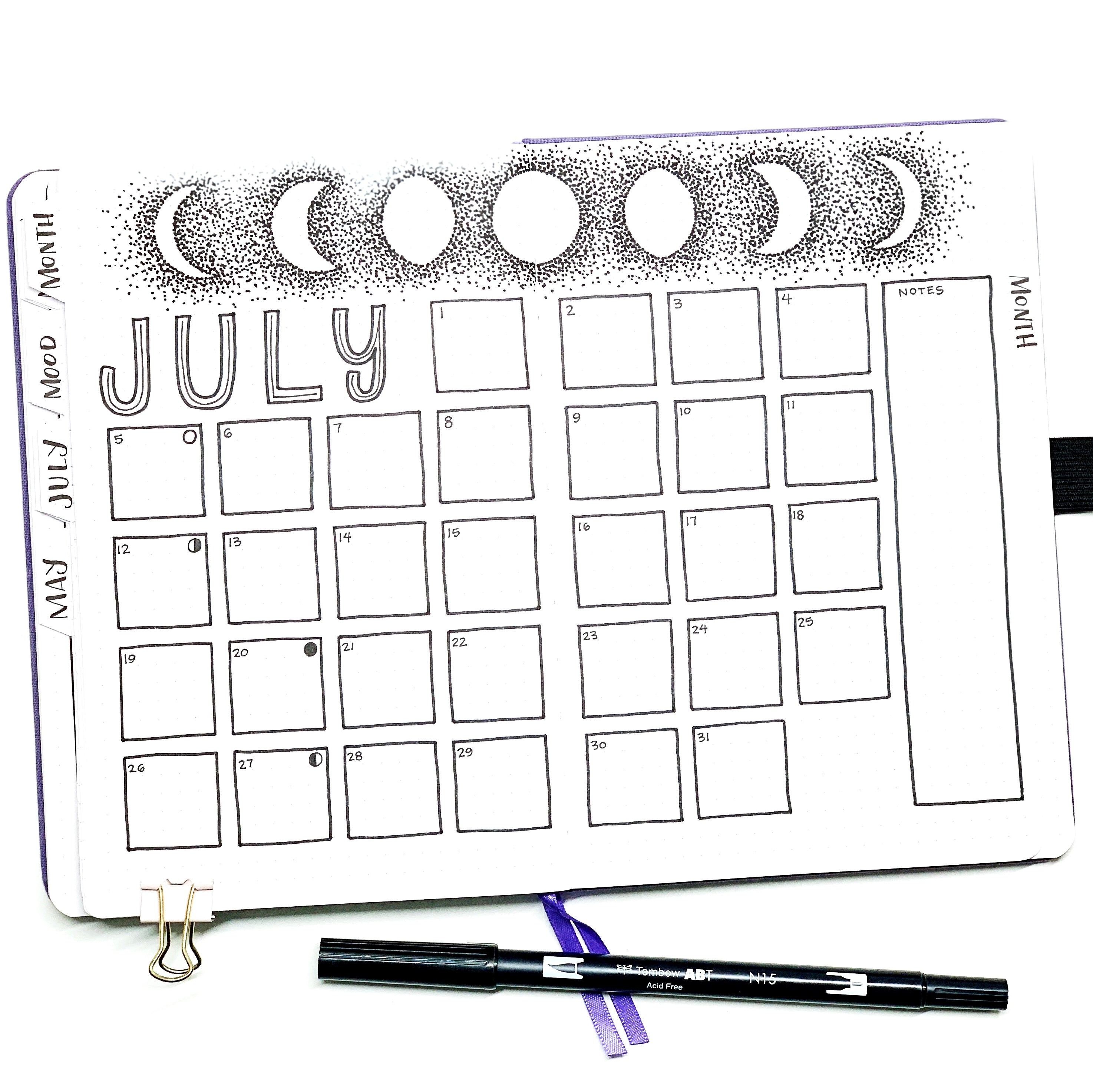 Learn how to create a moon phases monthly calendar with Adrienne from @studio80design!