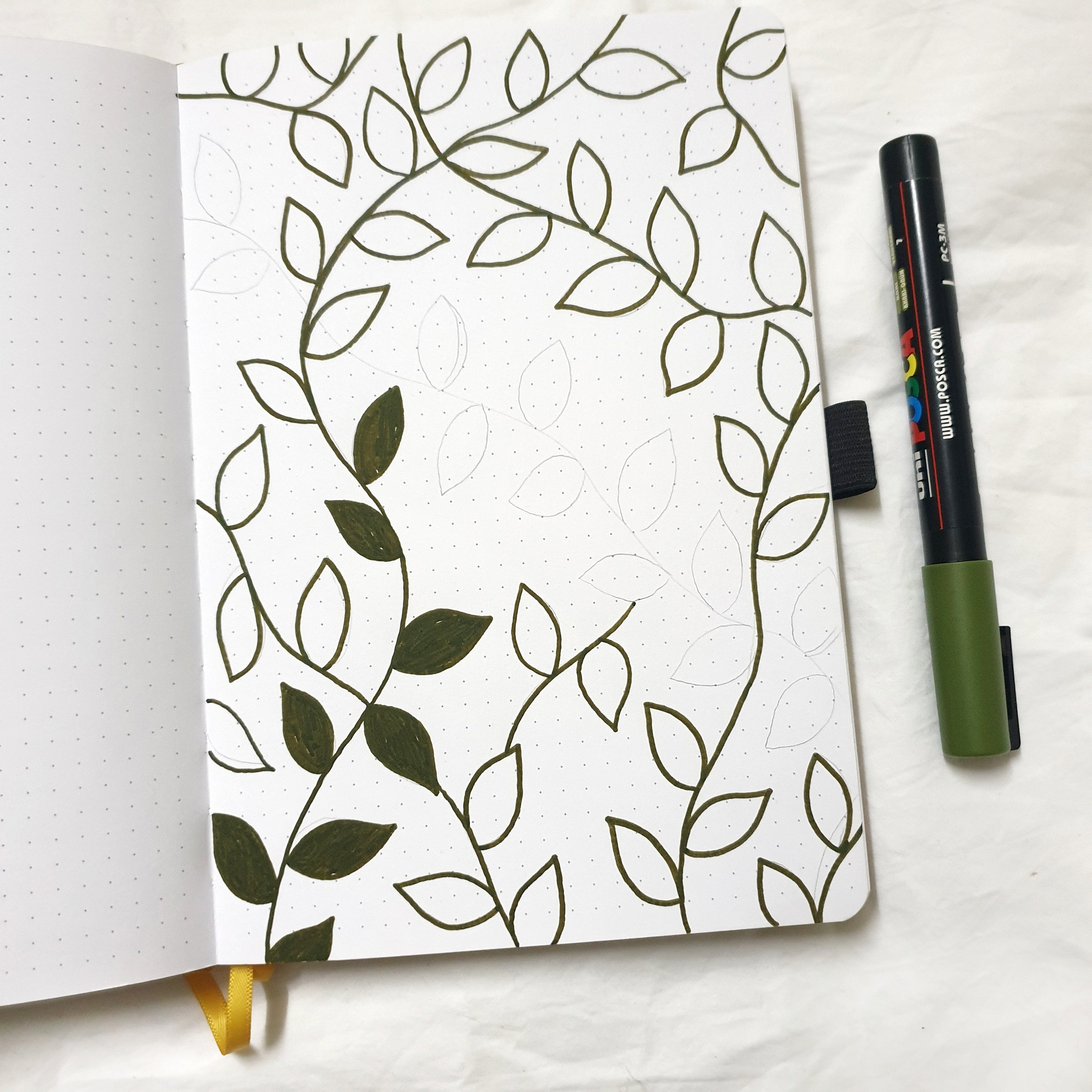 Bullet Journal Green and Gold Theme