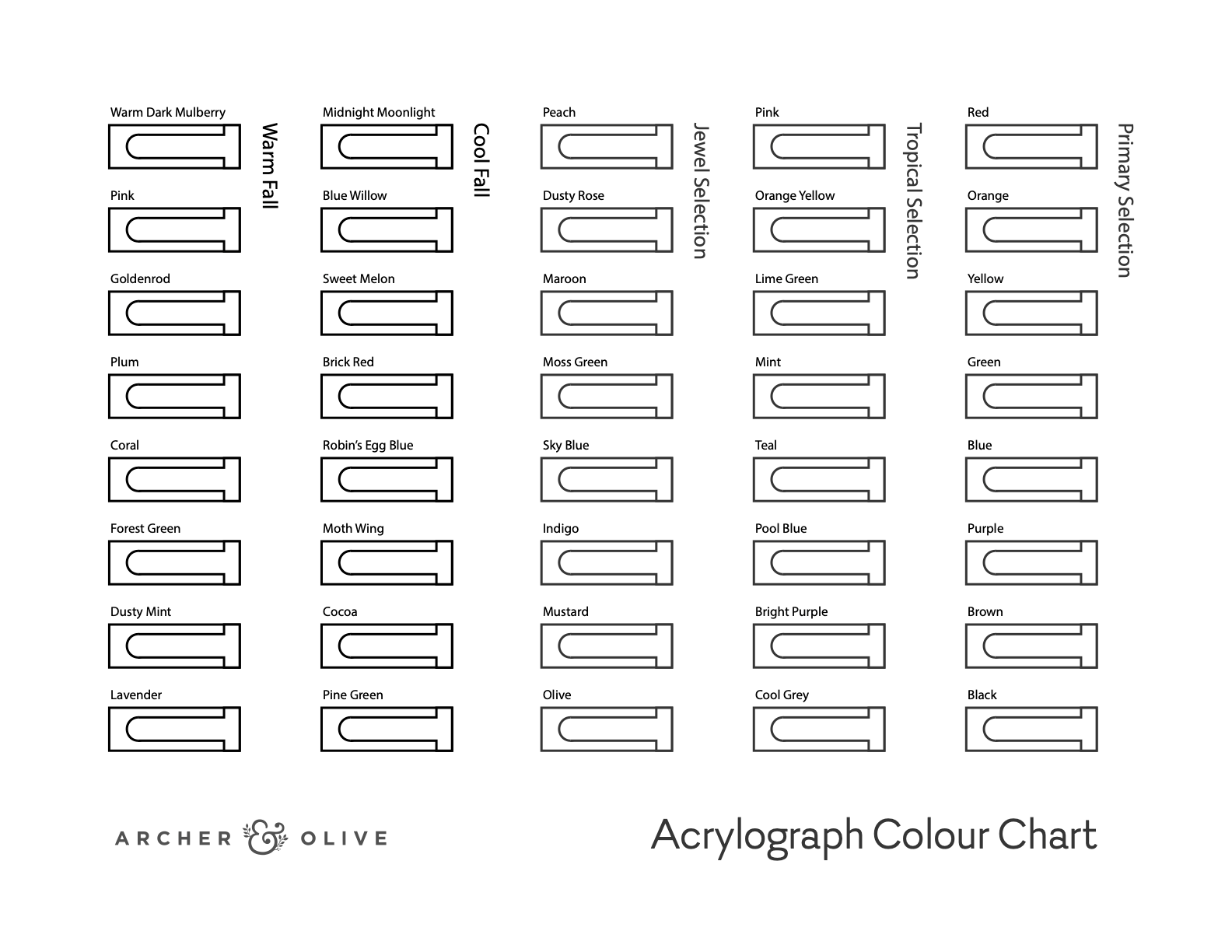 five collection swatch sheet