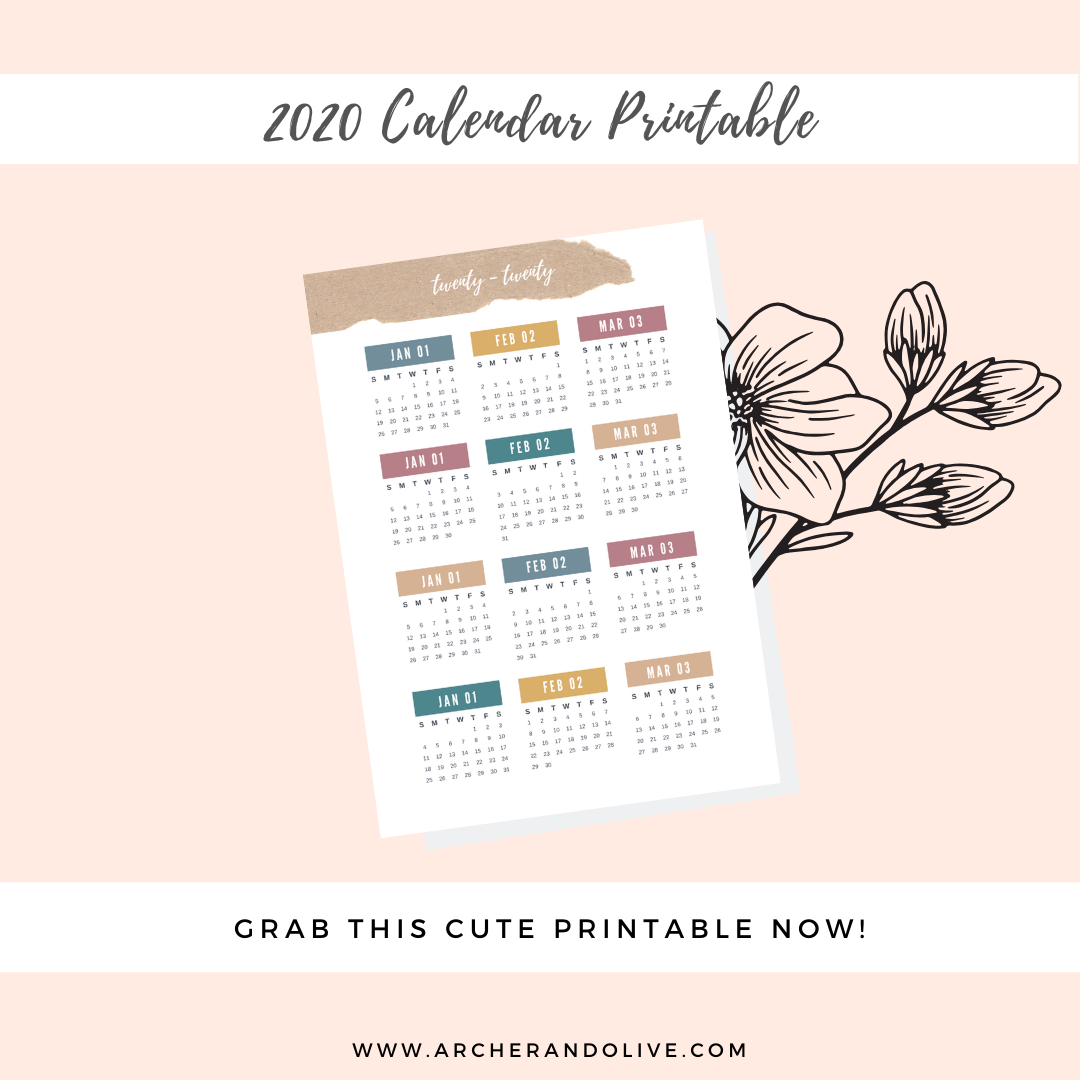 Download 2020 Calendar Printable