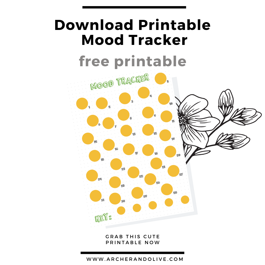 freebie, free printable, bullet journal, mood tracker, archer and olive, masha plans