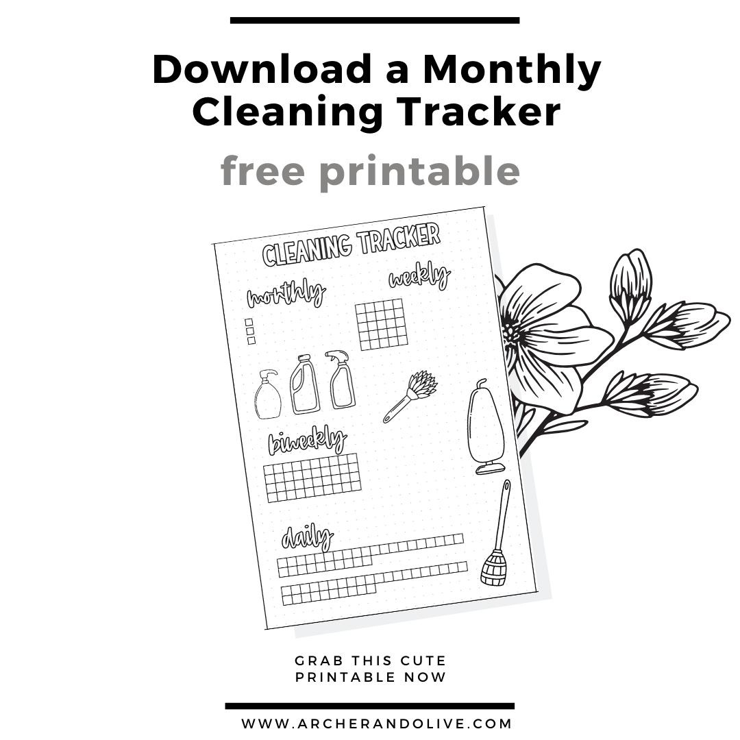 free printable, masha plans, archer and olive, cleaning tracker, bullet journal tracker