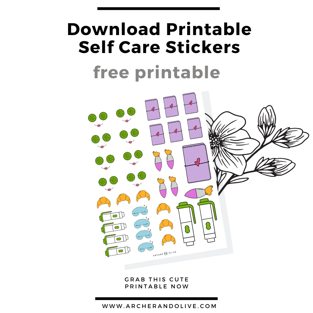 free printable, masha plans, archer and olive, self care stickers