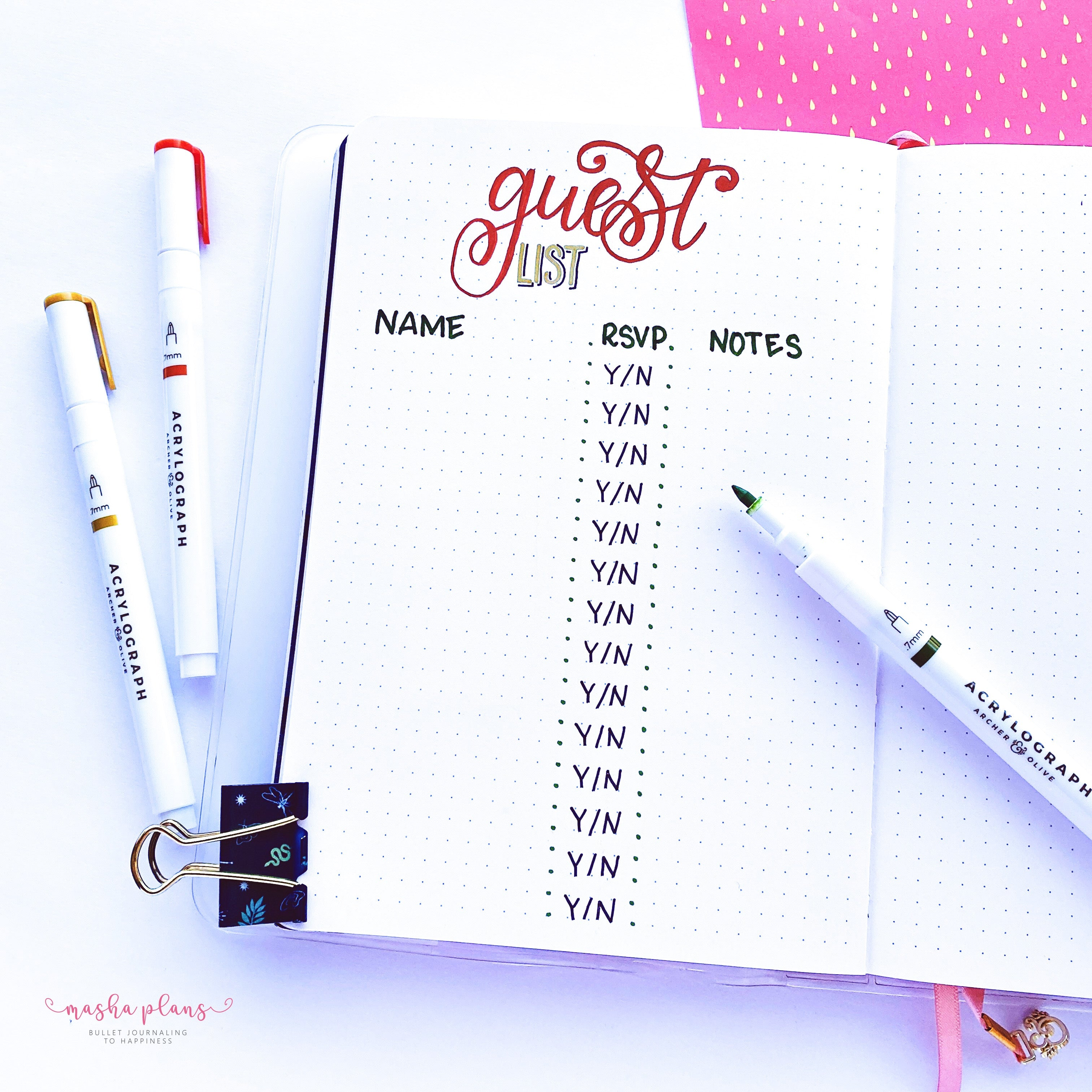 guest list spread