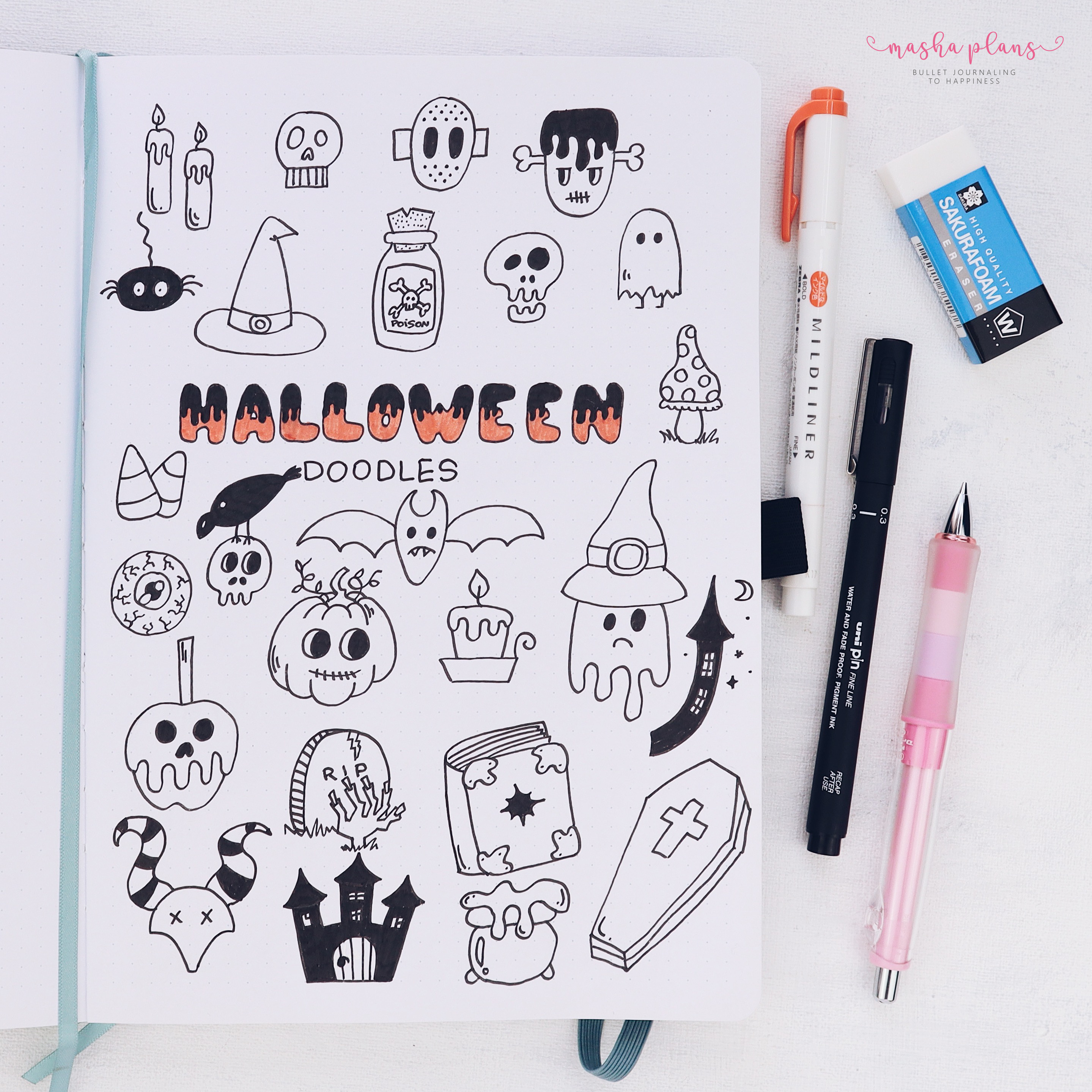 bullet journal, archer and olive, B5 notebook, halloween bullet journal, halloween doodles, how to doodle, bujo