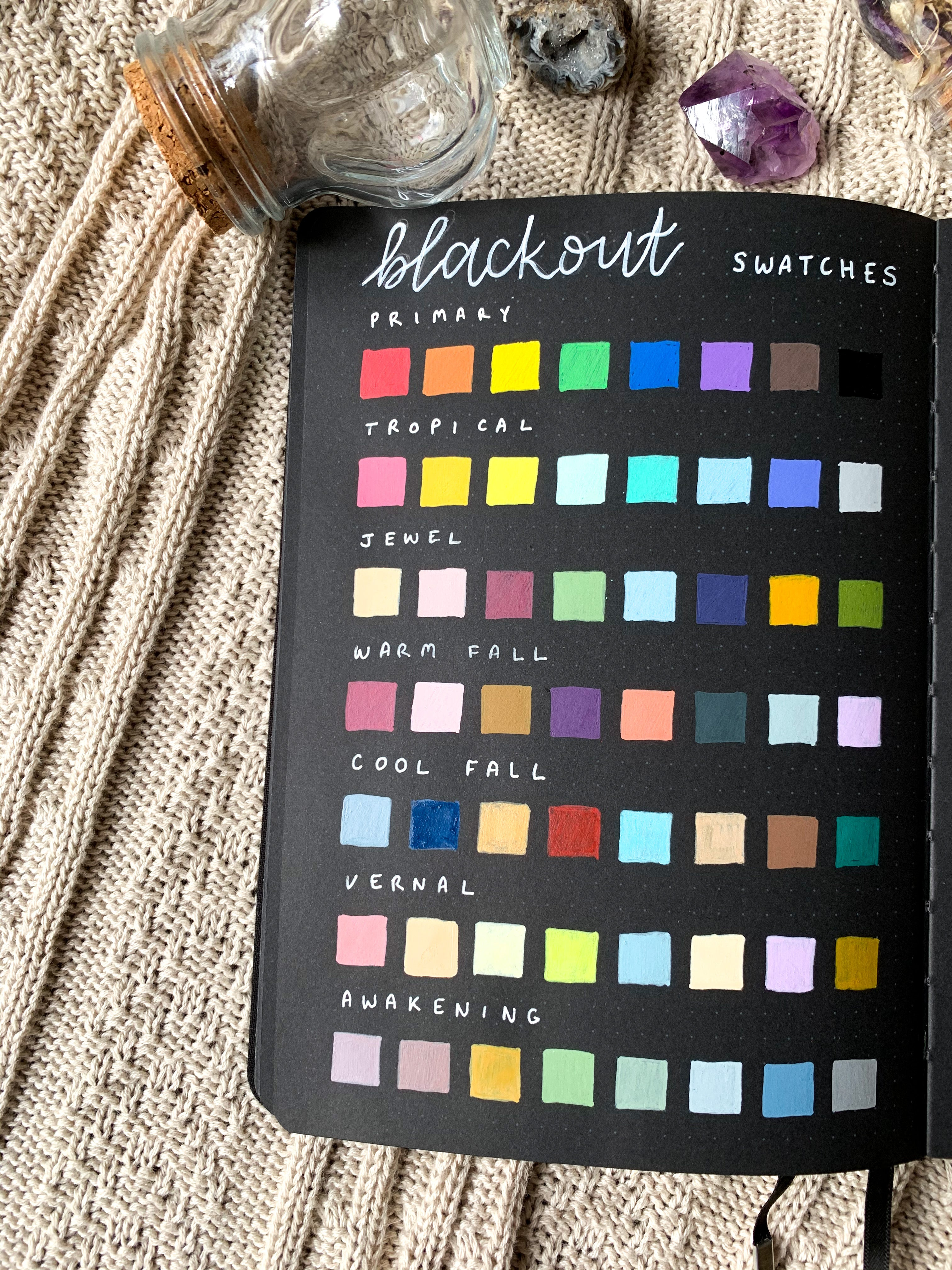Acrylograph Swatches on Blackout Notbook