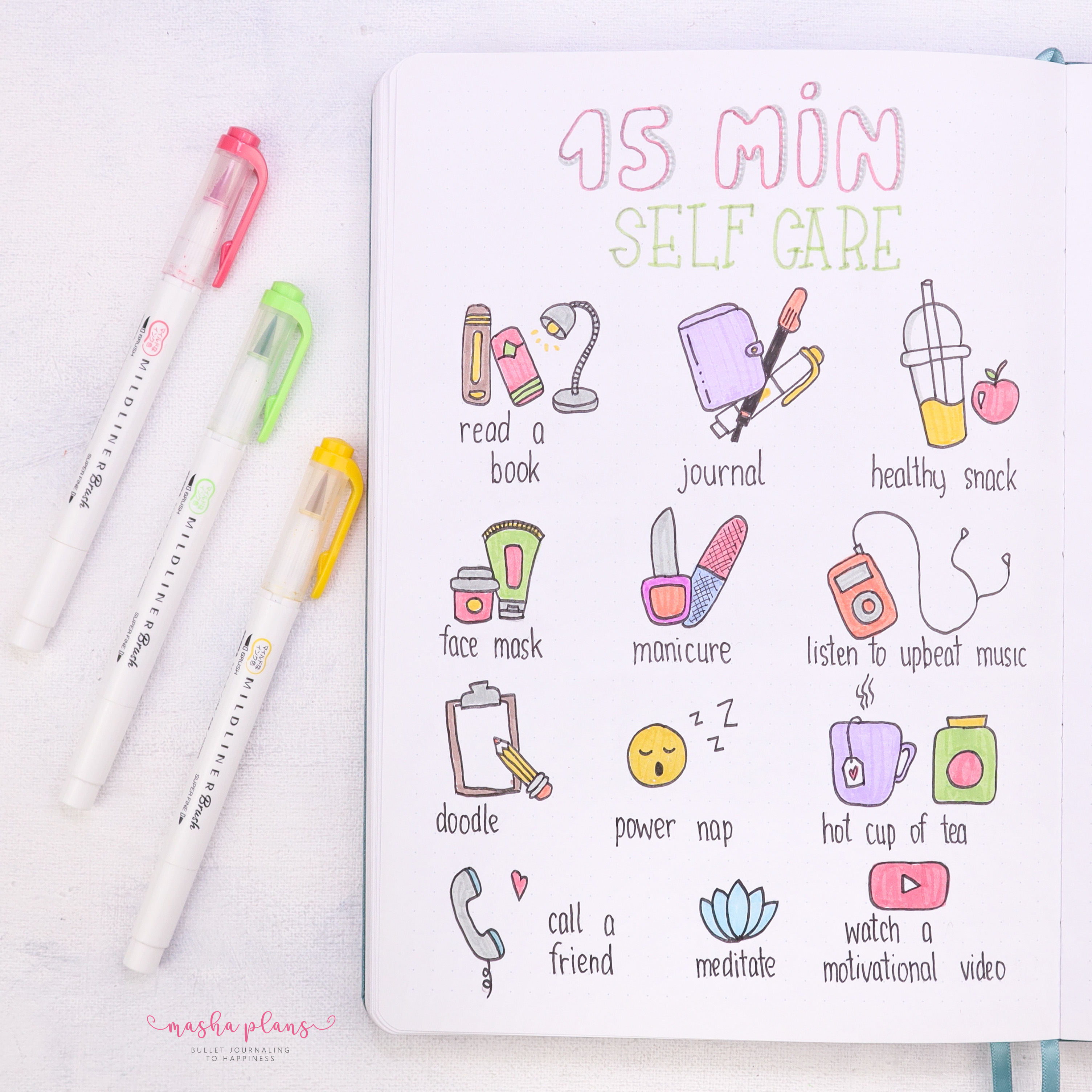 bullet journal, page ideas, masha plans, self care, archer and olive