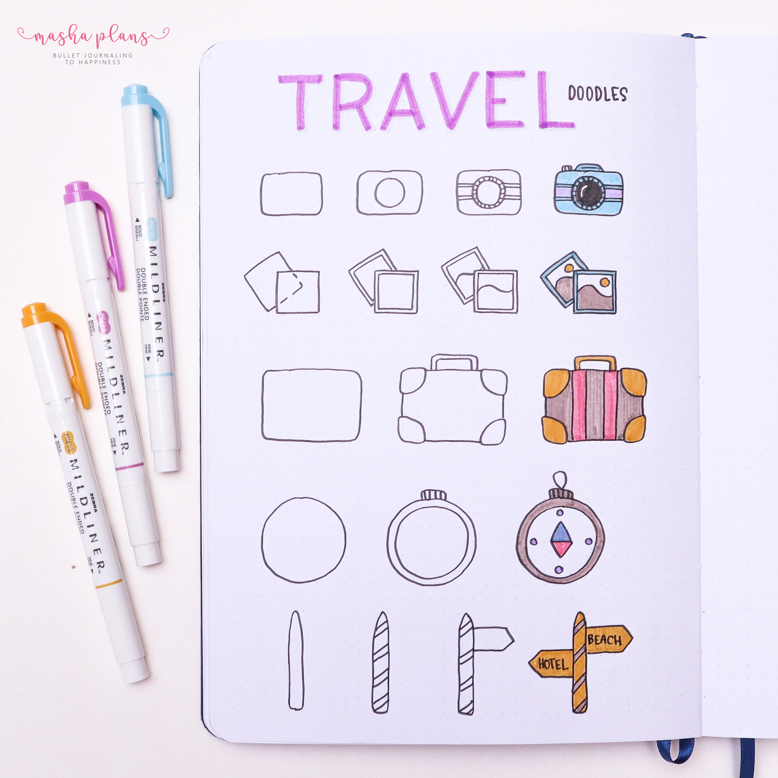 travel doodles, how to doodle, tutorial, masha plans, archer and olive