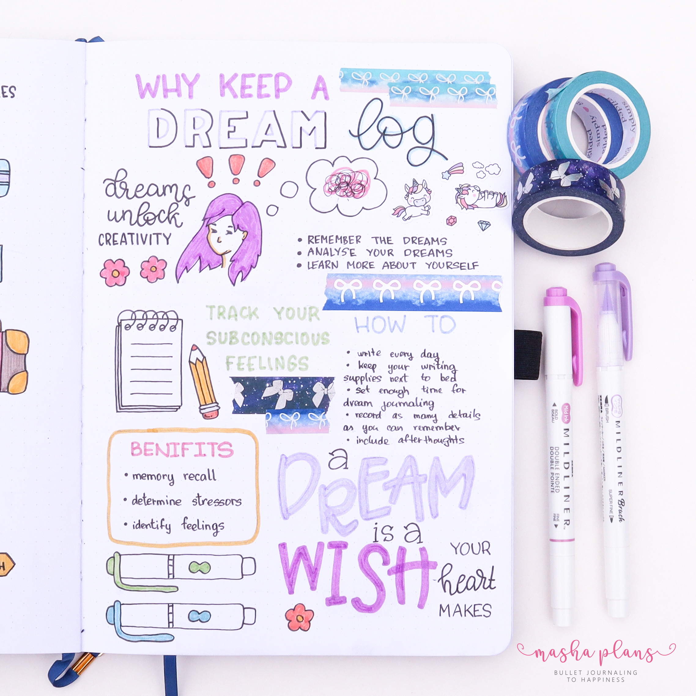 Bullet Journal, masha plans, dream log, archer and olive