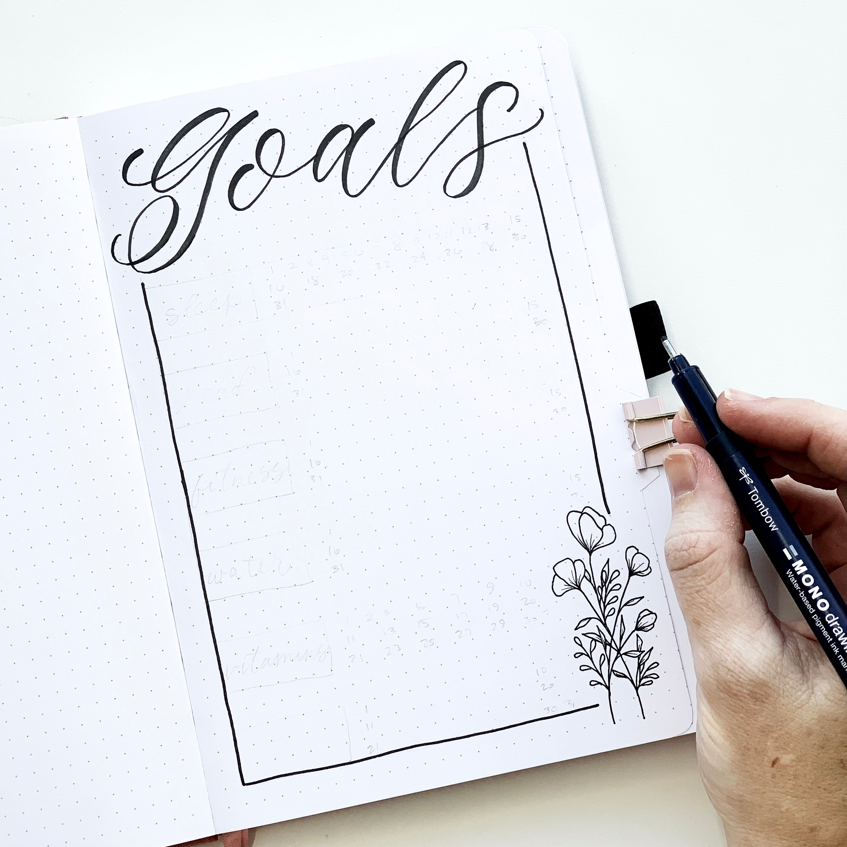 Create a goals page in your bullet journal with Adrienne from @studio80design!