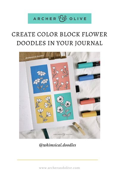 @whimsicaldoodles Color Block Flower Doodles in Archer and Olive Dot Grid Journal