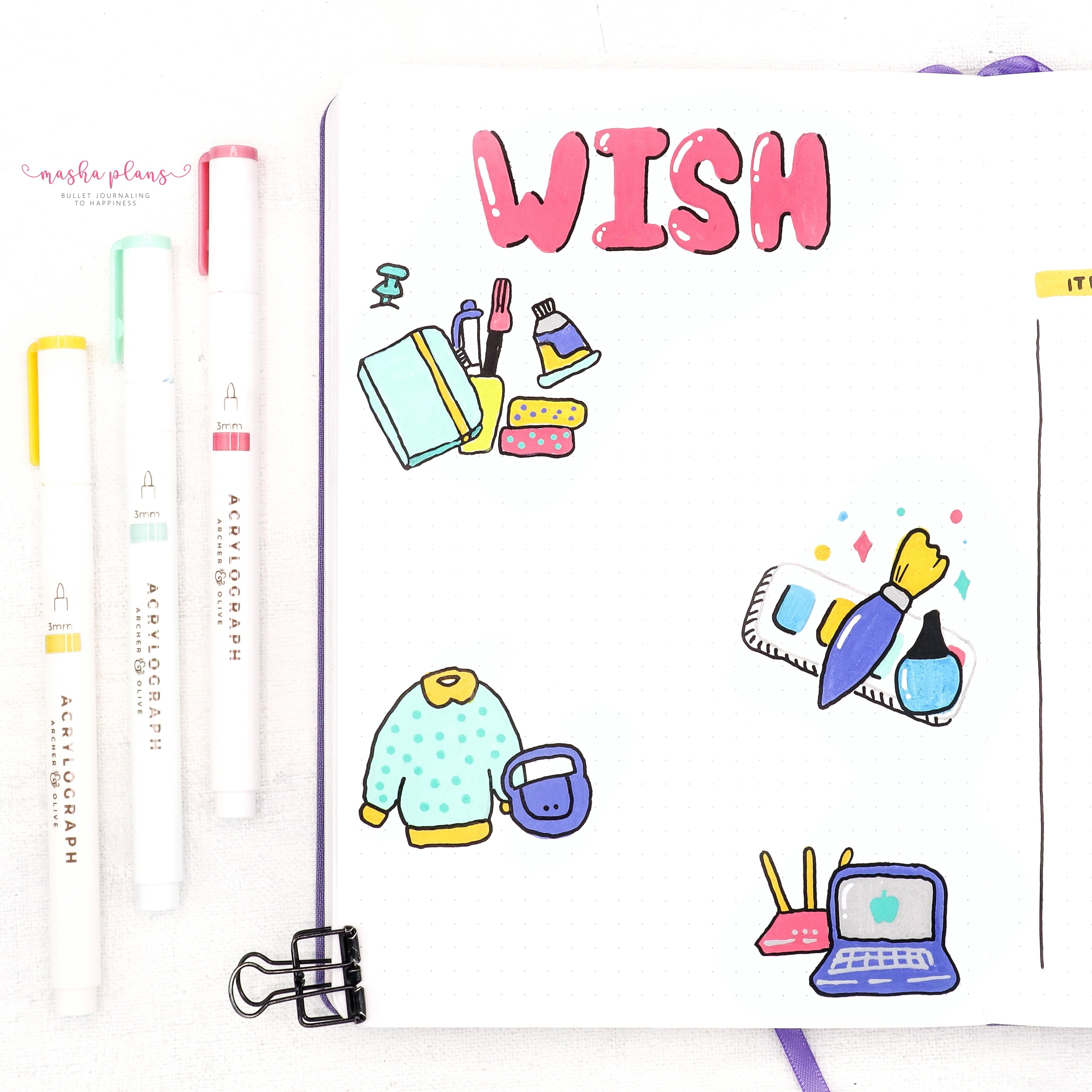 wish list, bullet journal, page ideas, acrylograph pens, masha plans, archer and olive
