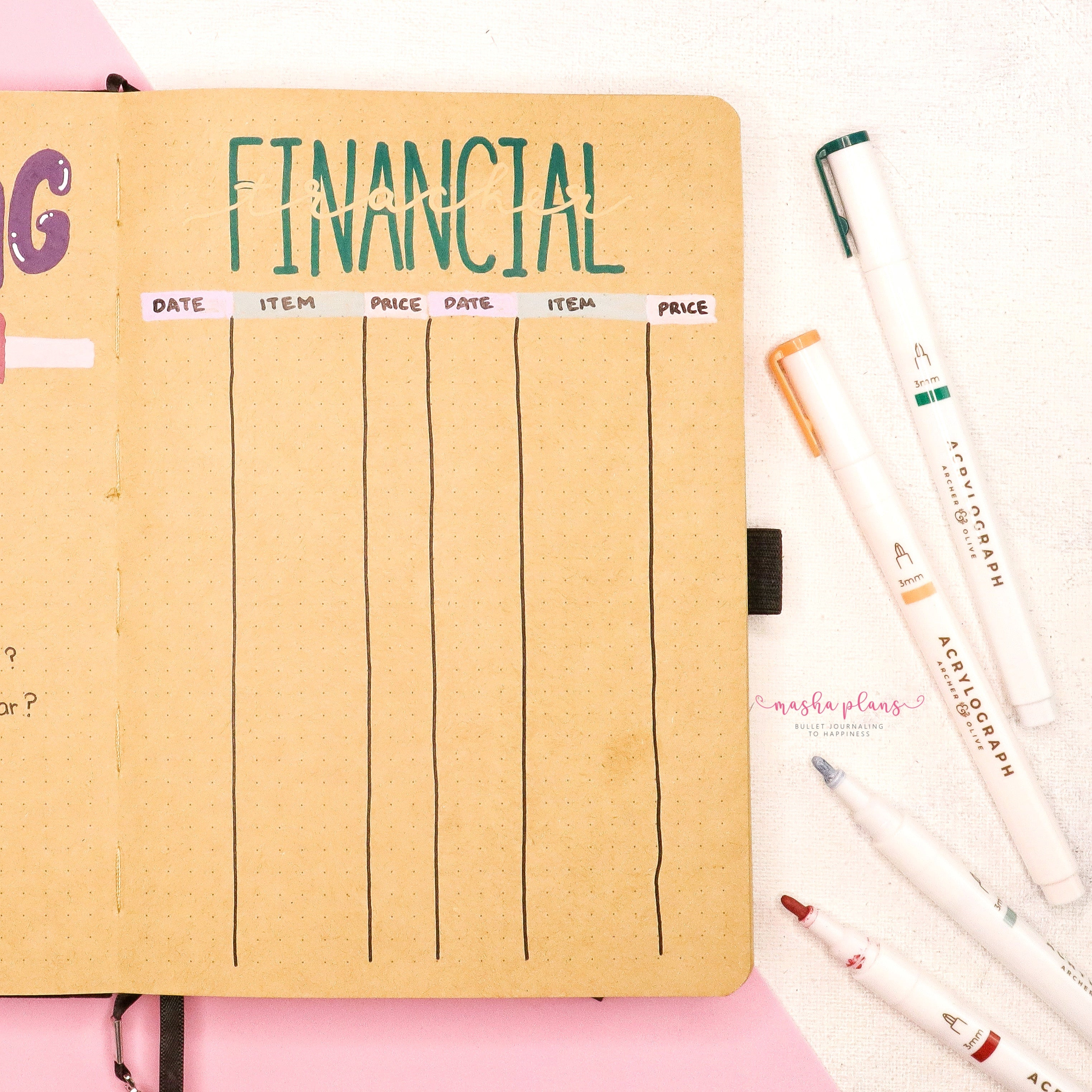 finance tracker, masha plans, kraft journal, acrylograph pens, archer and olive