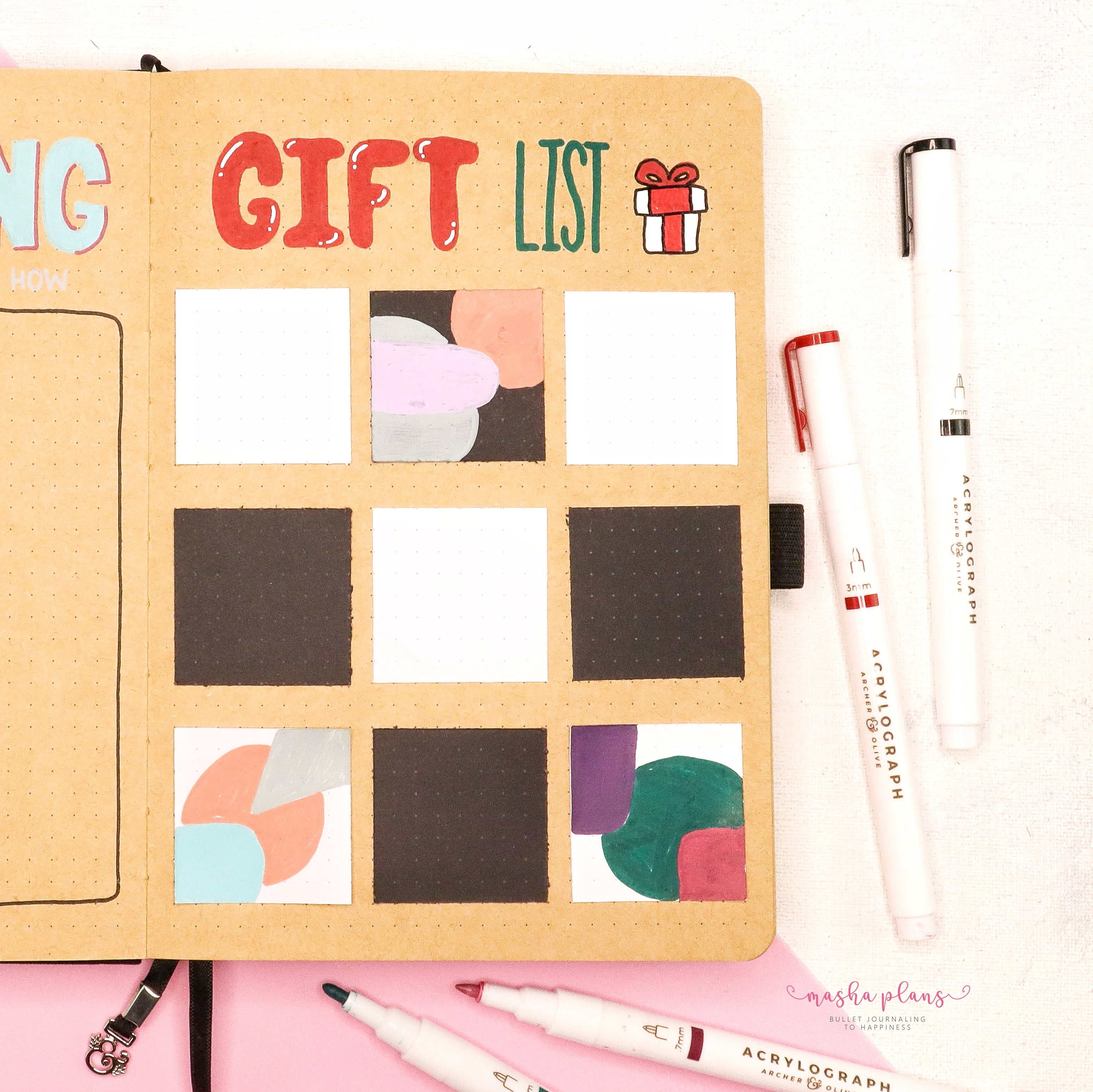 gift ideas, masha plans, kraft journal, acrylograph pens, archer and olive