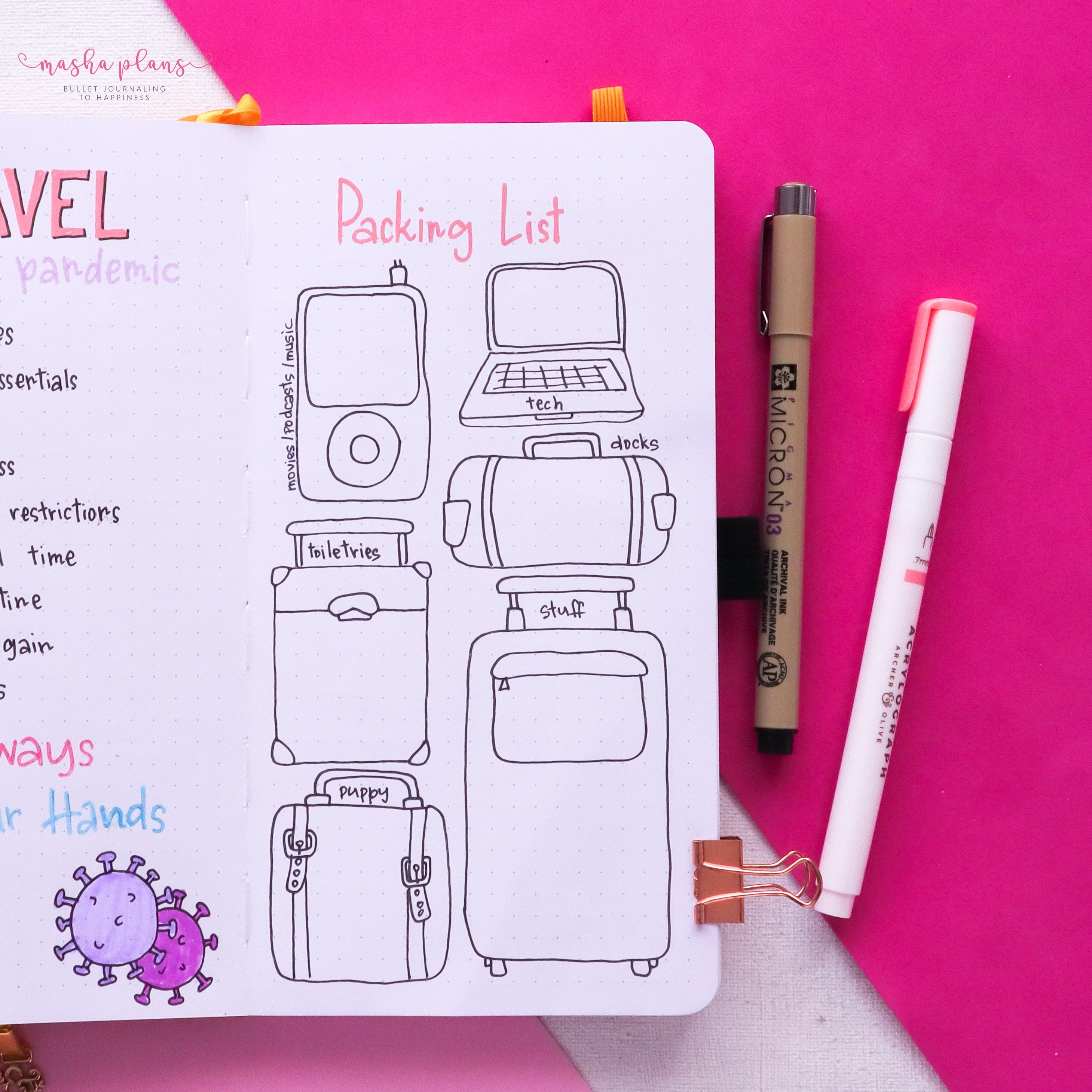 travel journal, masha plans, travel pages, packing list, masha plans. archer and olive