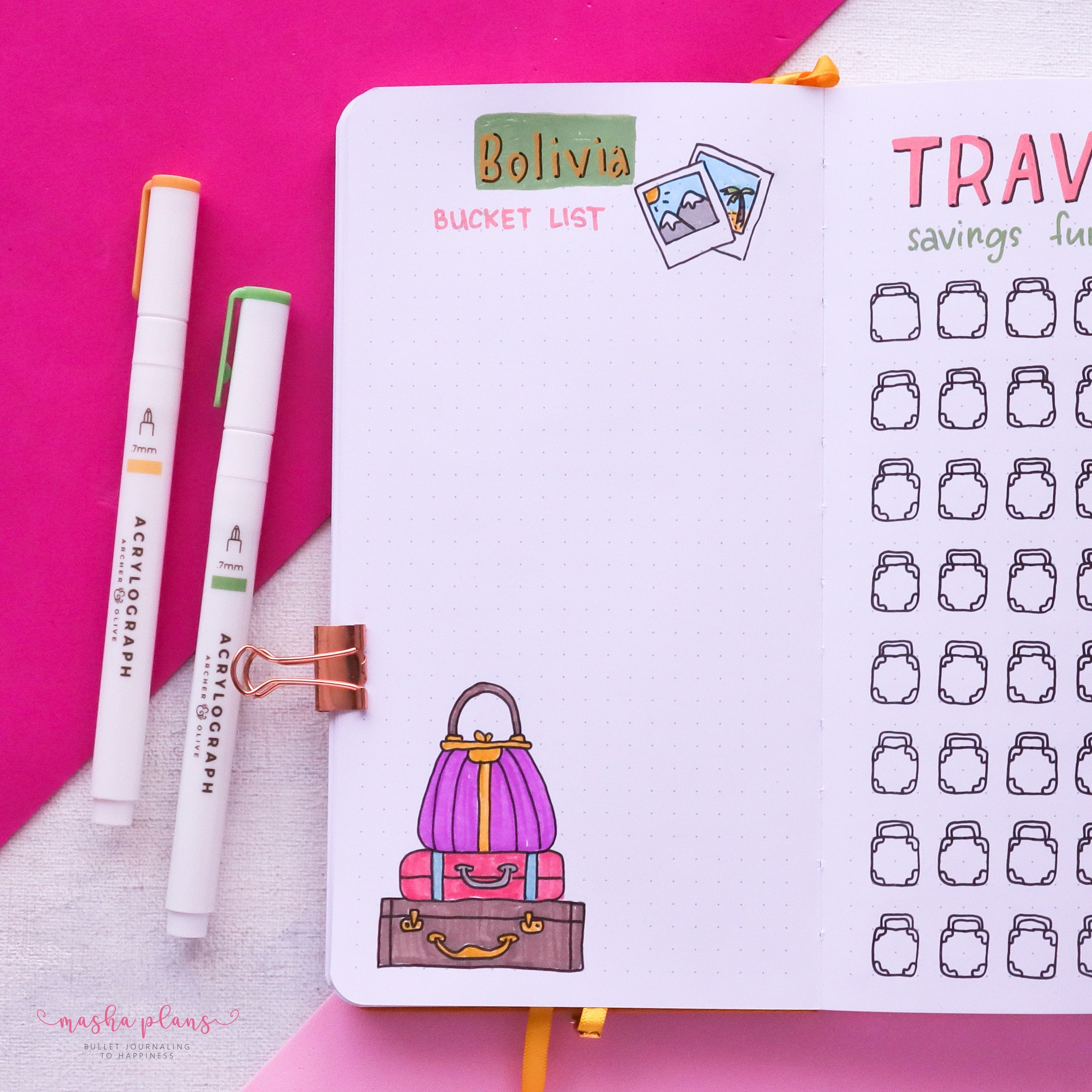 travel journal, travel page, masha plans, bucket list, archer and olive, acrylograph pens
