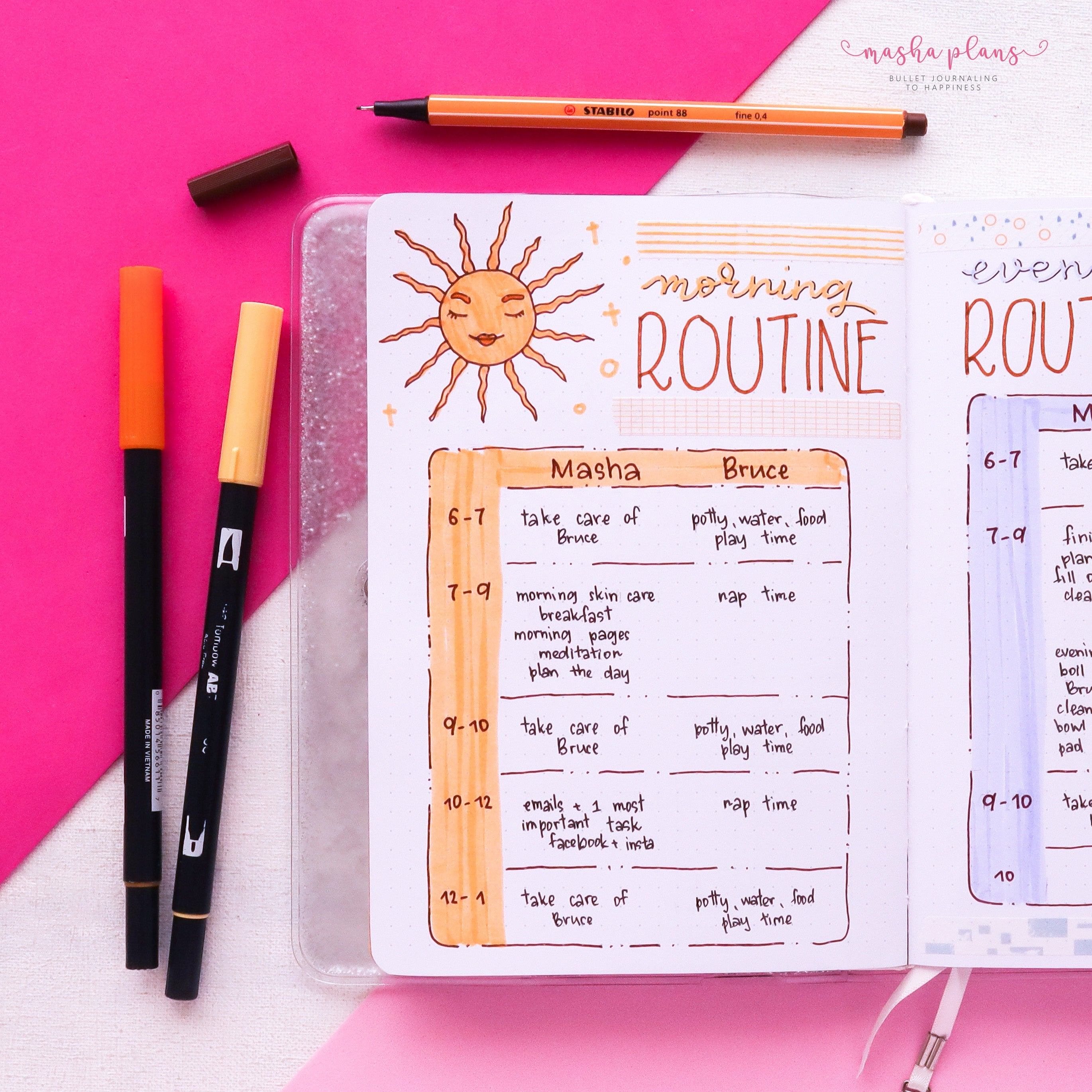 morning routine, routine spread, page ideas, masha plans, archer and olive