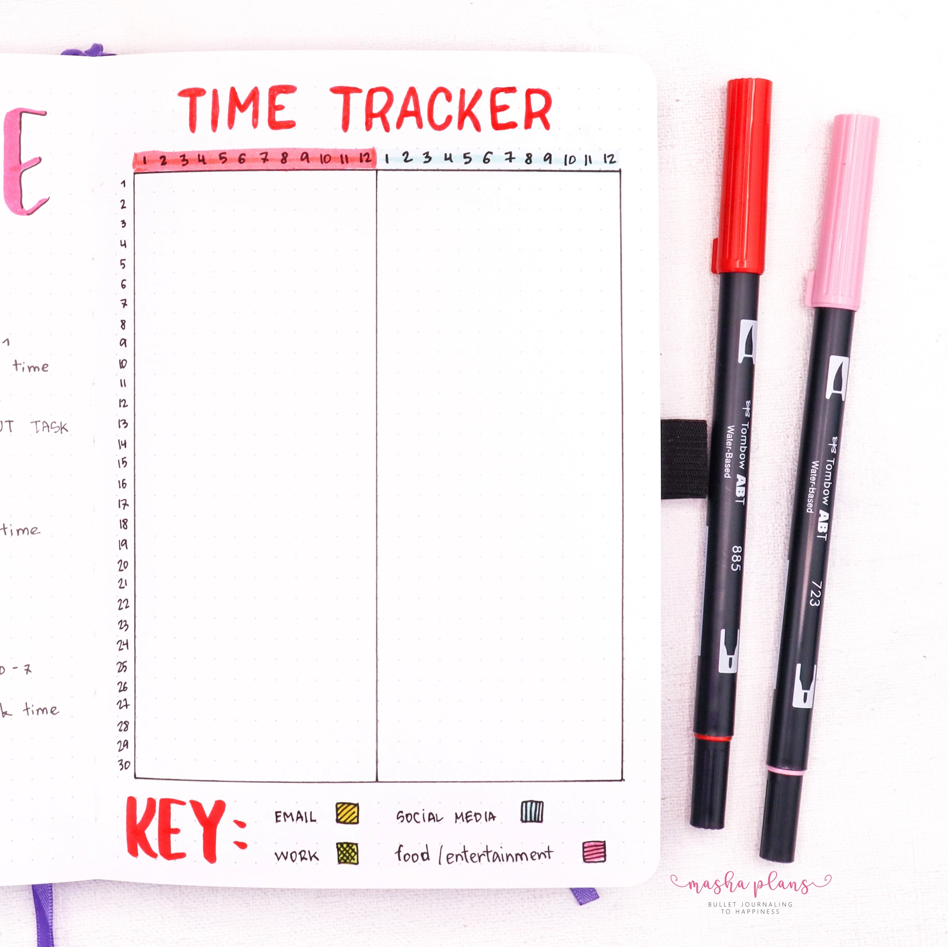 time tracker, bullet journal tracker, work from home, masha plans, archer and olive