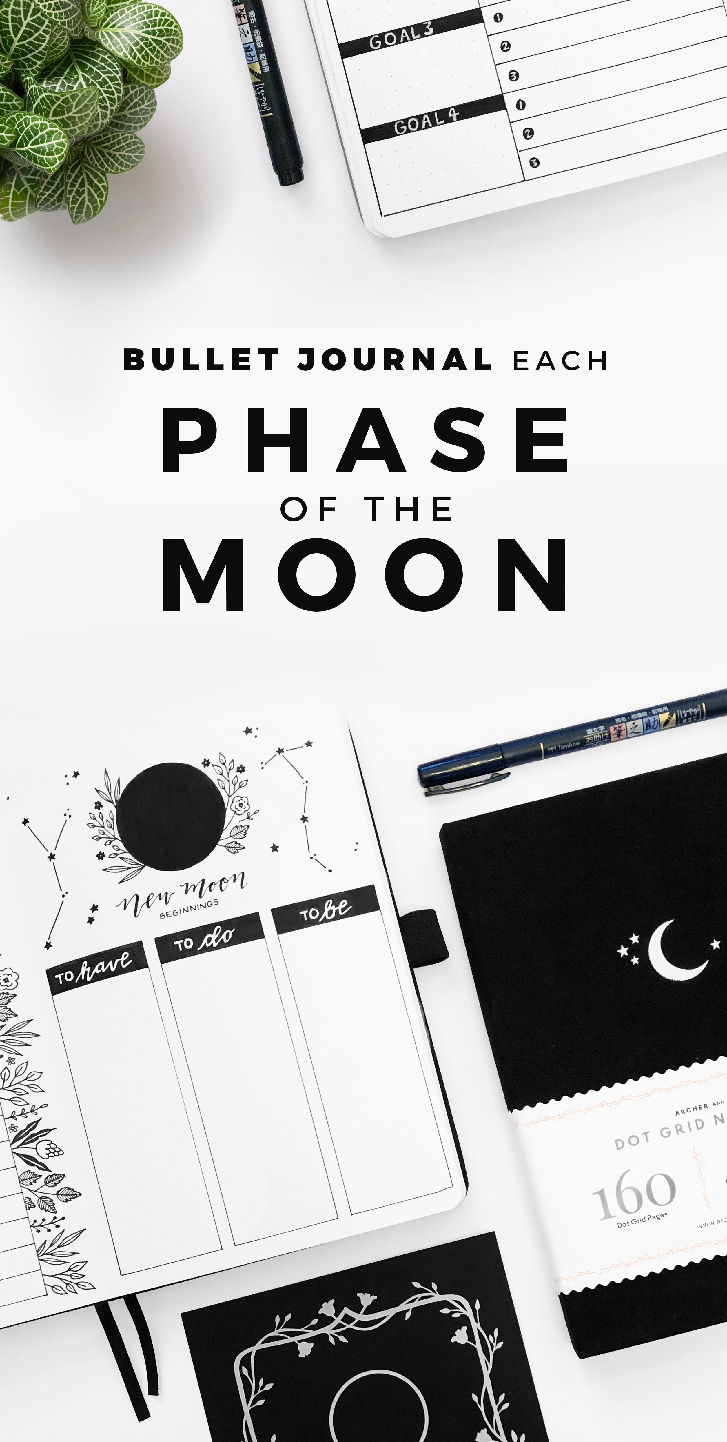 Bullet Journal each phase of the moon
