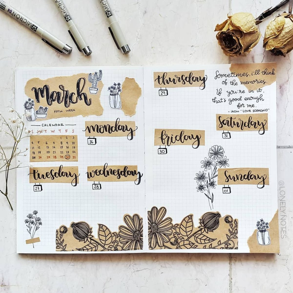 Brown Theme Bullet Journal