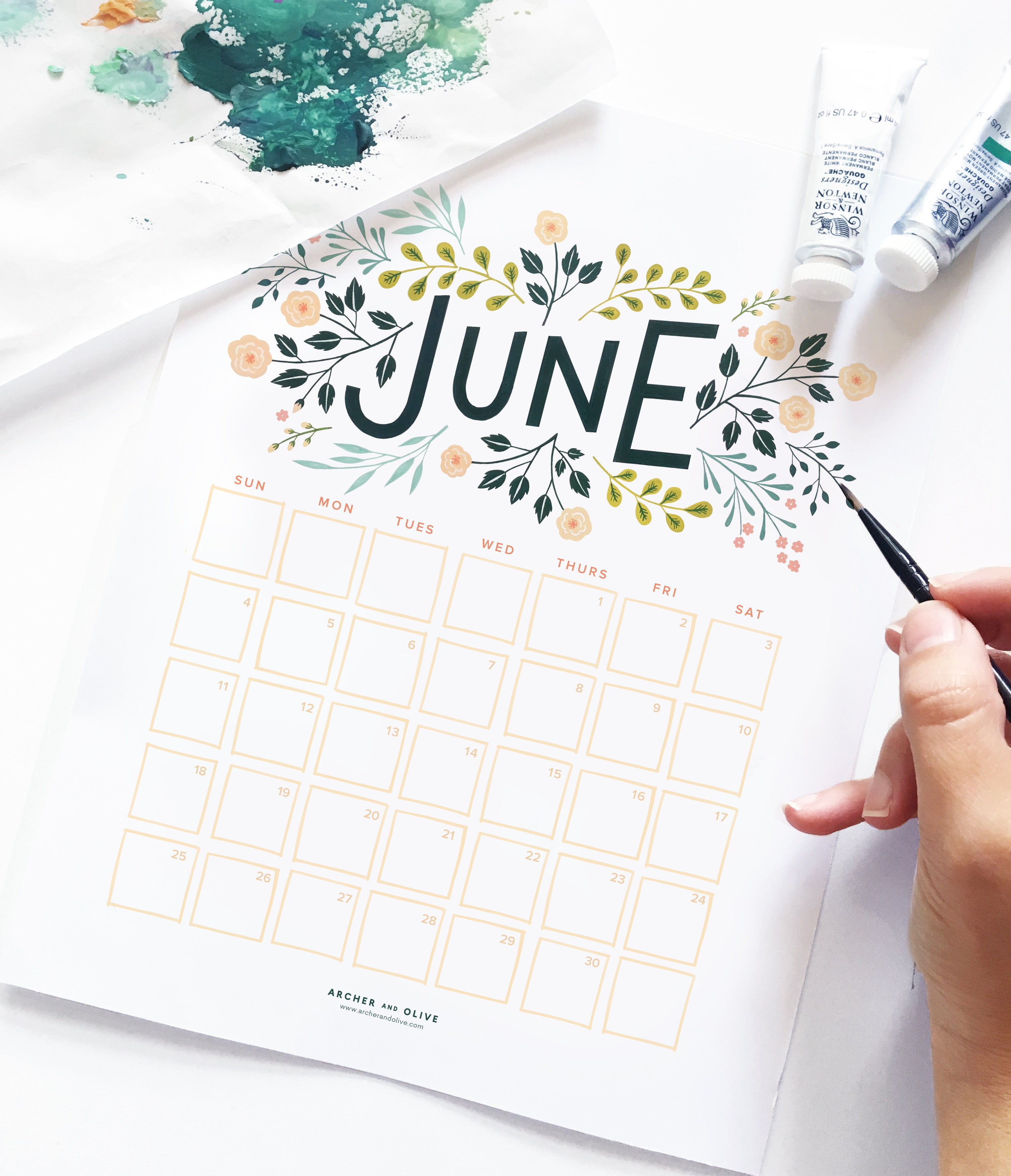 June Calendar Printable.June Calendar Printable Archer And Olive