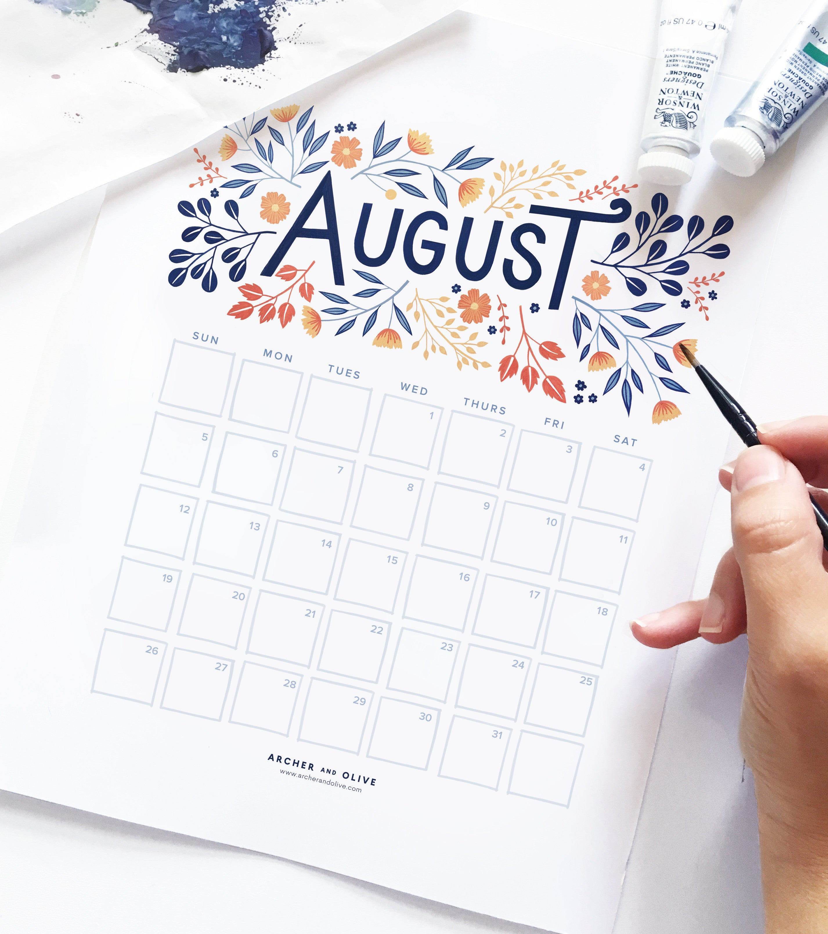 image regarding Fun Printable Calendar named Freebie Friday - August Printable Calendar Archer and Olive