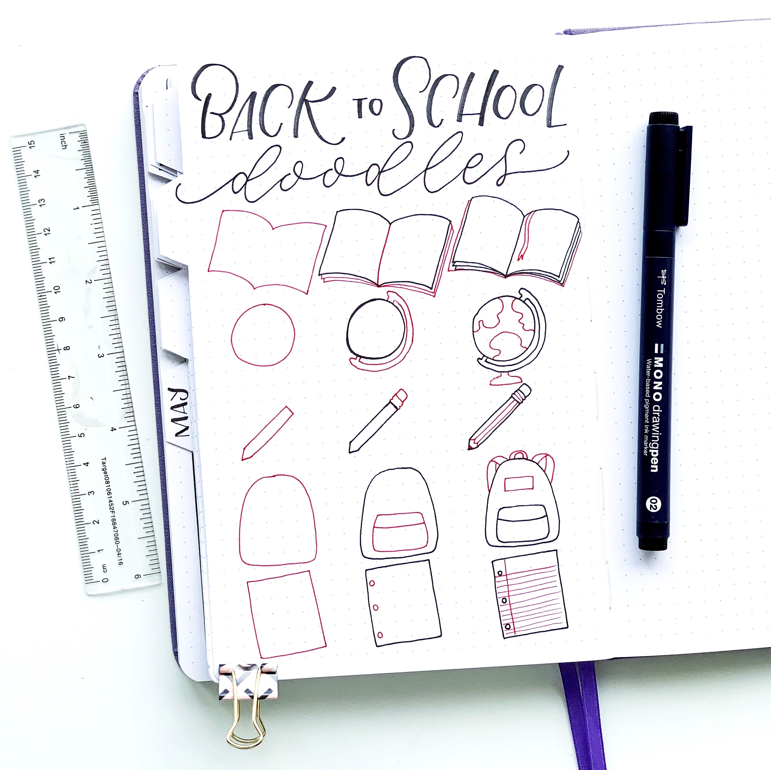 Learn how to draw back-to-school doodles in your notebook with Adrienne from @studio80design!