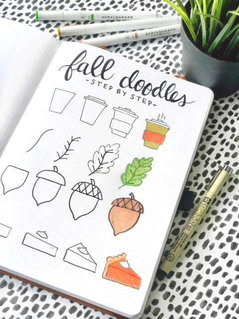 fall doodles coloured
