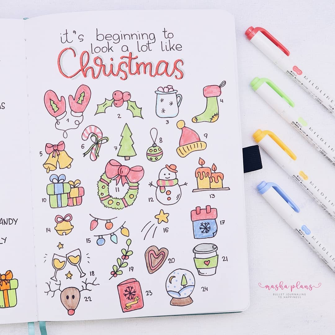 christmas bullet journal, bujo, masha plans, archer and olive, christmas countdown