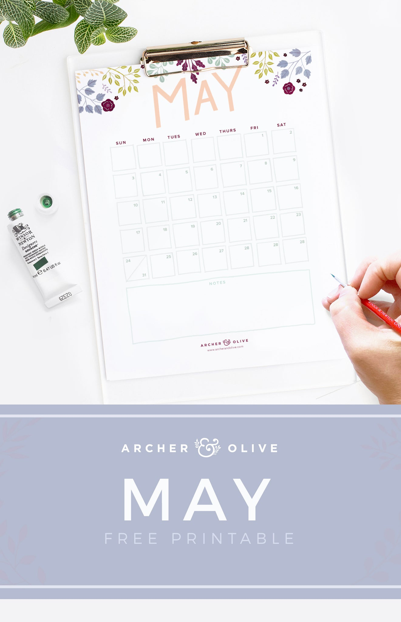 Archer and Olive May Calendar Printable
