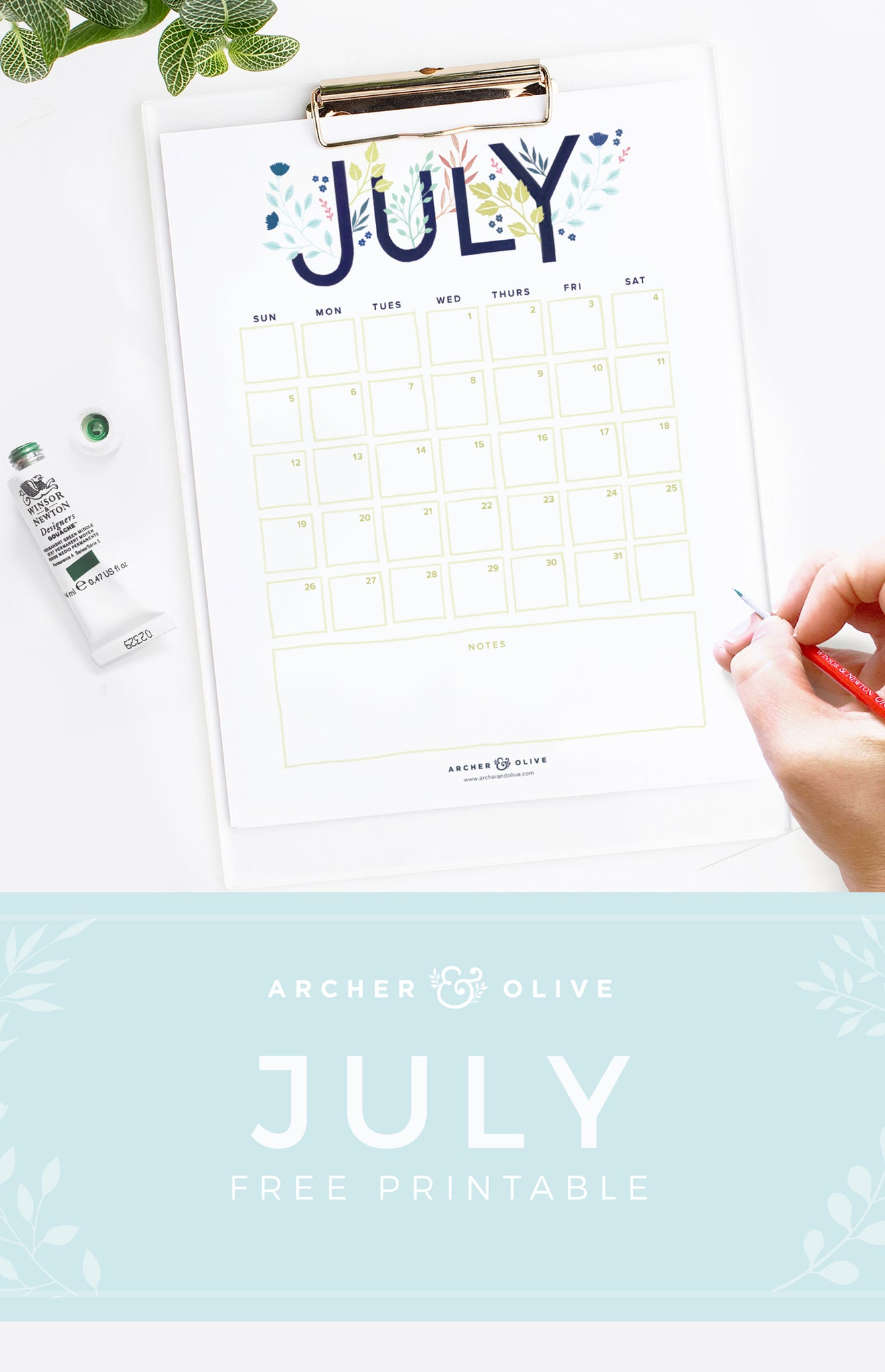 Archer and Olive July Calendar Free Printable