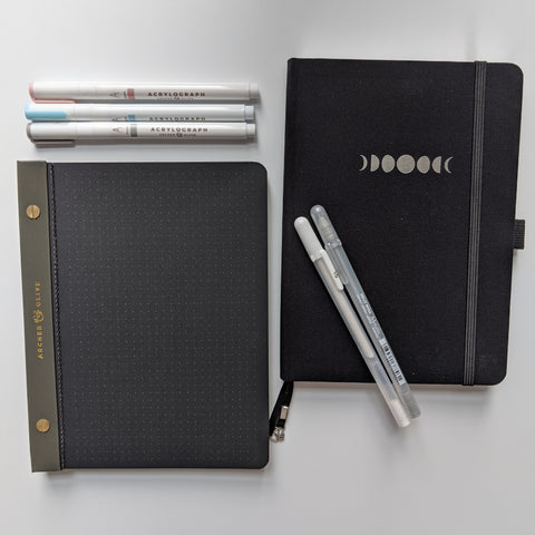 blackout notebook and notepad  acrylograph pens and gel pens