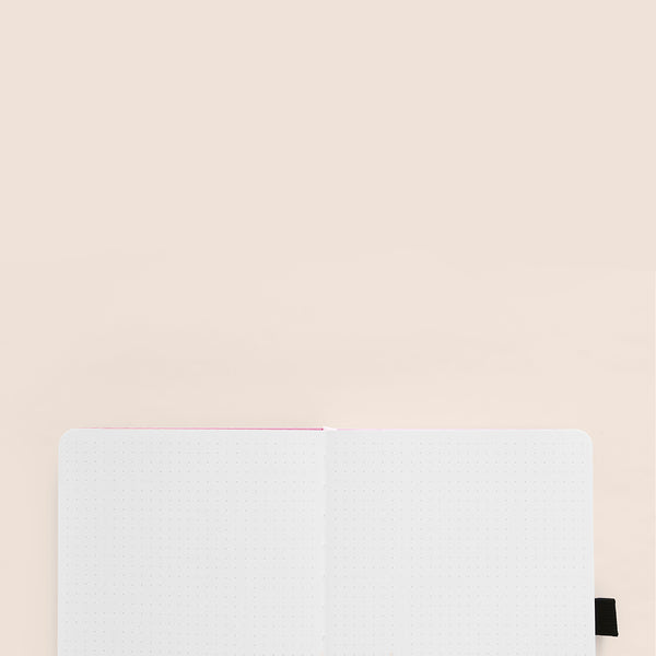 A5 Silver Crescent Dot Grid Notebook With Silver Gilded Edges