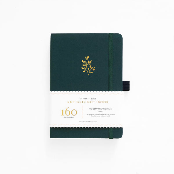 LIMITED EDITION Leafy Green A5 Dot Grid Notebook With Gold Gilded Edges