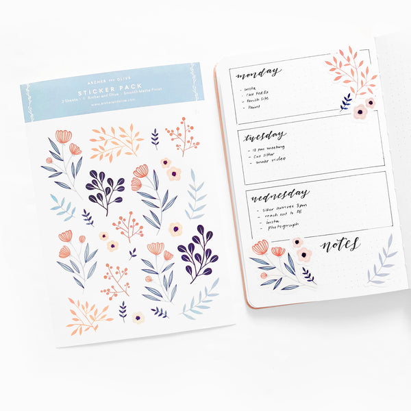 image about Bullet Journal Stickers Printable titled Pack of 6 Planner Stickers Bullet Magazine Stickers