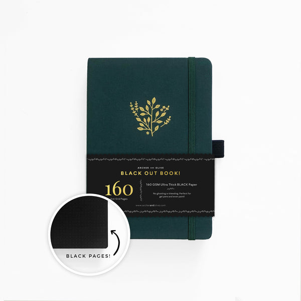 The BLACKOUT Book - A5 Deep Green Dot grid notebook with BLACK pages