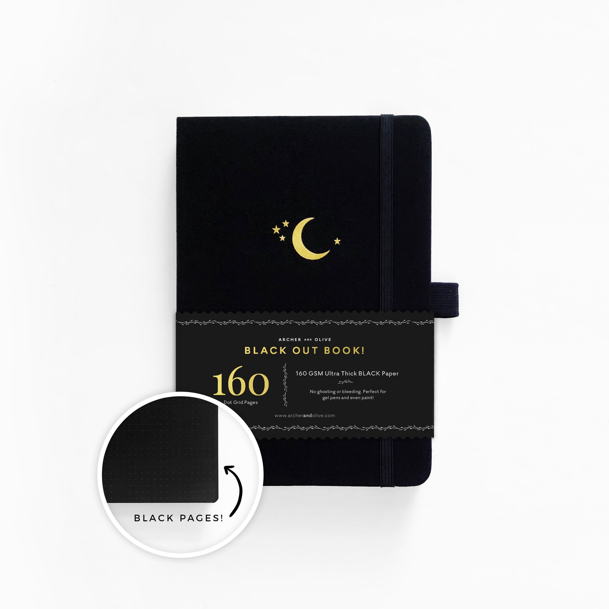 A5 Crescent Moon Blackout Dot grid Notebook