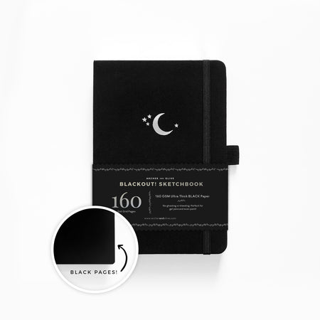 The BLACKOUT Book - A5 Silver Crescent Dot grid notebook with BLACK pages