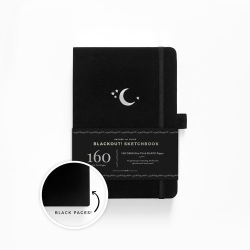 The BLACKOUT Sketchbook - A5 Silver Crescent Sketchbook with BLACK pages