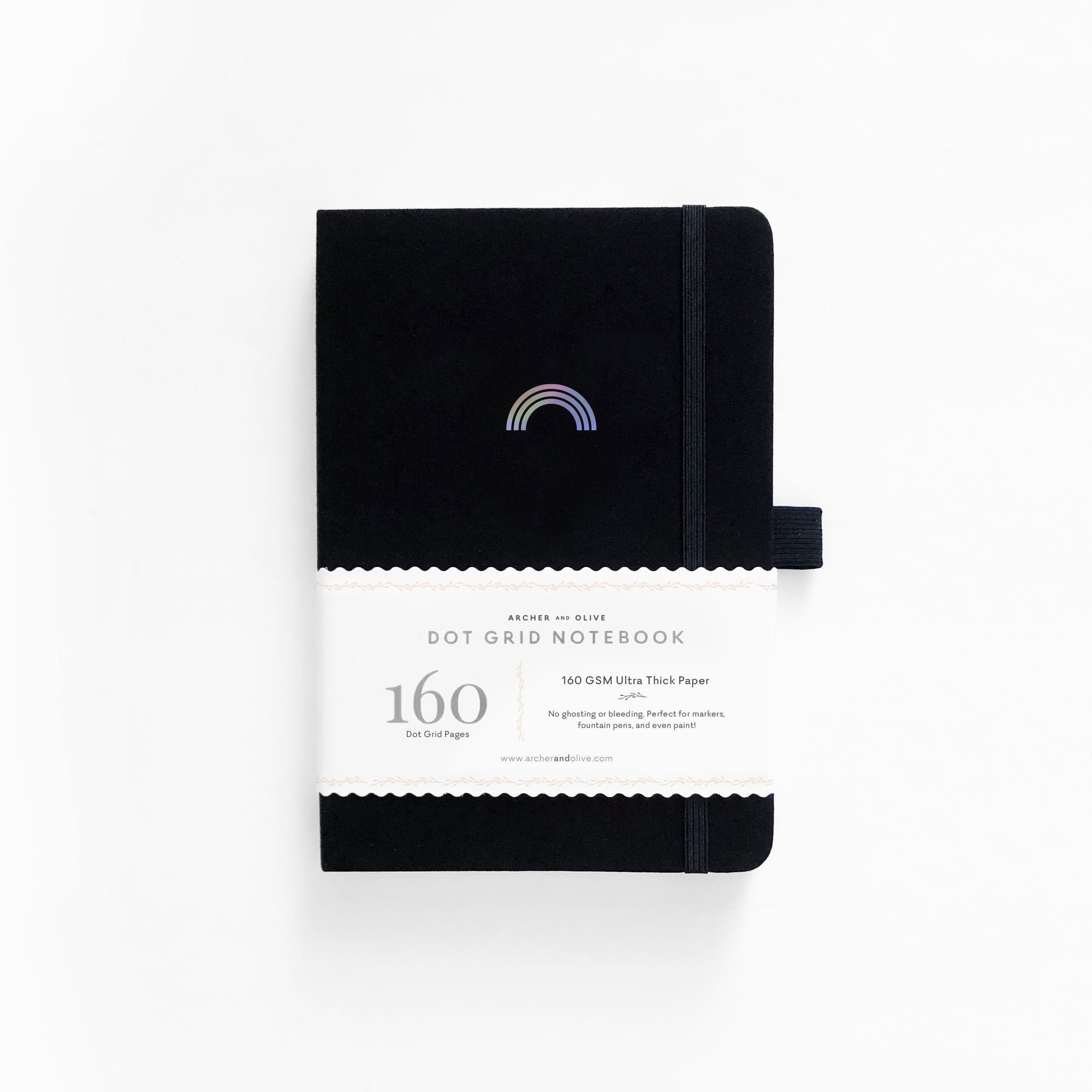 A5 Rainbow On Black Cover With Dot Grid Pages