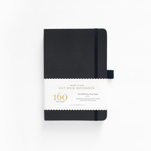 A5 Hard Cover Dot Grid Notebook - Black