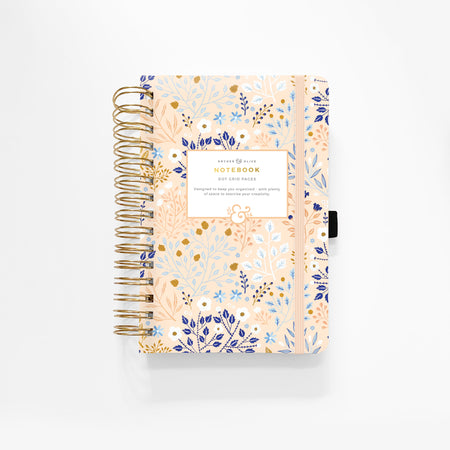 A5 Pink Flowers Dot Grid Notebook