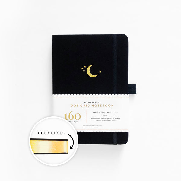 Crescent Moon Dot Grid Notebook With Gold Gilded Edges
