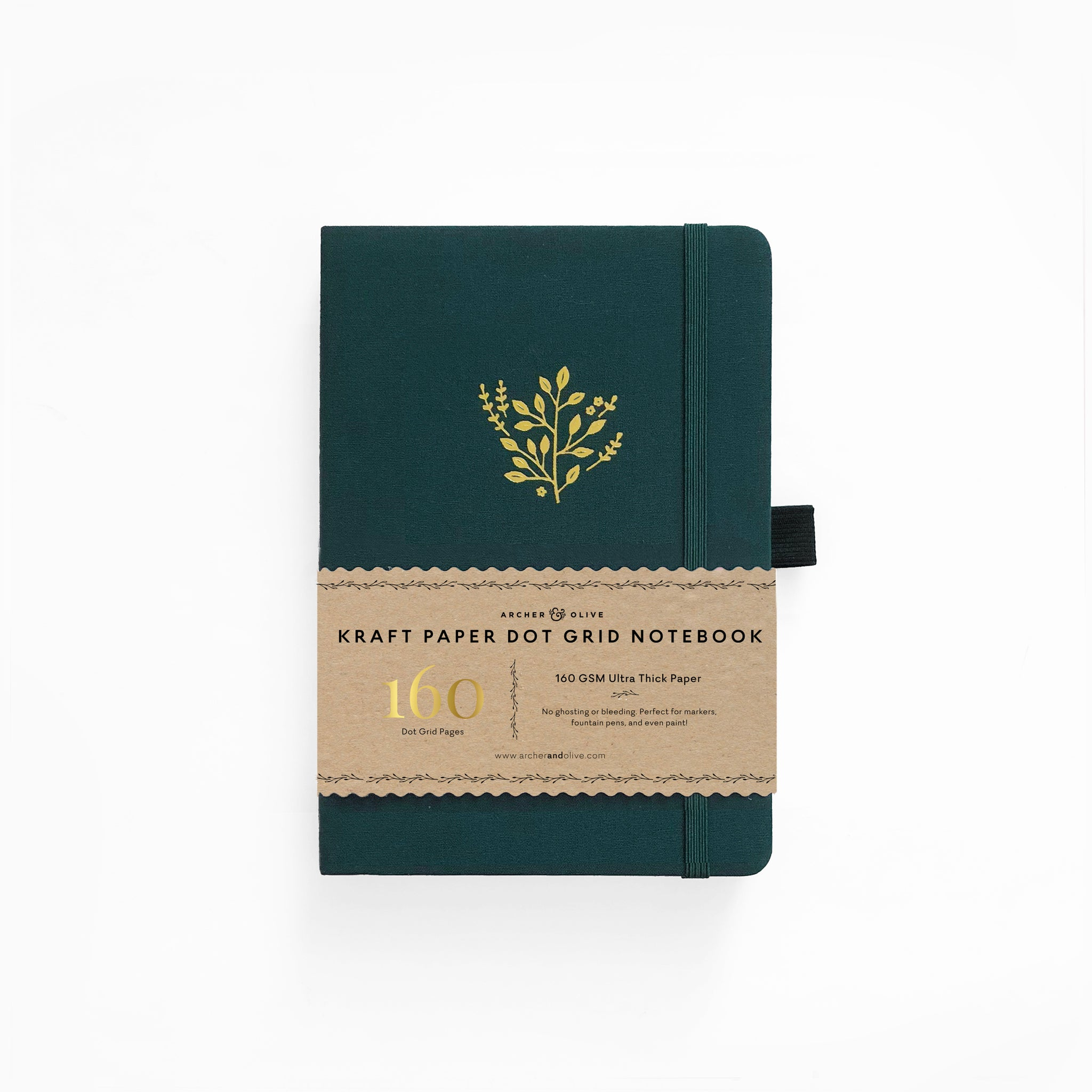 A5 Deep Green Kraft Paper Dot Grid Notebook