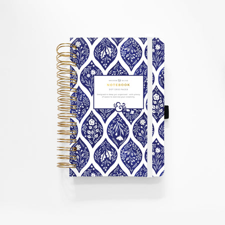 A5 Crescent Moon Dot Grid Notebook With Gold Gilded Edges